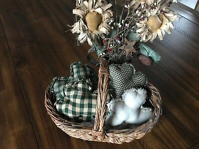 Farmhouse Plaid Ornies Bowl Fillers PrImITive Green Shamrock St Patrick's Day