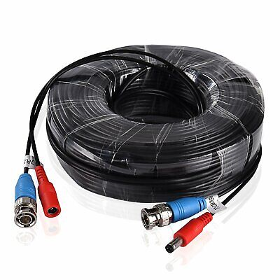 60ft 18m BNC DC Power Lead HD CCTV Security Camera DVR Video Extension Cable