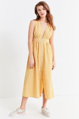 db87f67b8a (NWOT URBAN OUTFITTERS UO STRIPED BUTTON-DOWN PLUNGING MIDI DRESS sz XS)