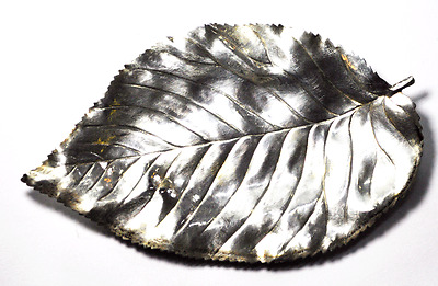 "Blackinton Sterling Silver Leaf Small Soap Tray Leaf Horderve Plate 6""  3-5/8"""
