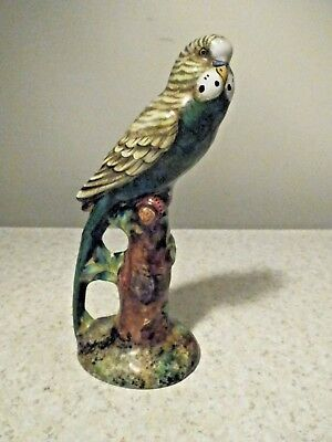 "Vintage 8 1/2"" Tall Parakeet Figurine, Green And Yellow, Very Colorful"