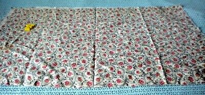 """vintage cotton full size feed sack grey w red flowers 30"""" x 36"""""""