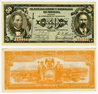 1915 Currency Series E State of Sinaloa Mexico 50 Centavos Banknote P# S1042 CU