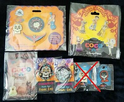 Disney Parks & Pixar Coco 5 Pin Set Booster Pack Miguel, Hector, Dante, etc.NEW!