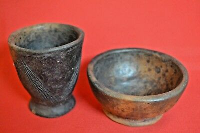 Antique ABALUYIA Tribe Vessel African People Carved  BOWL + CUP KENYA Africa