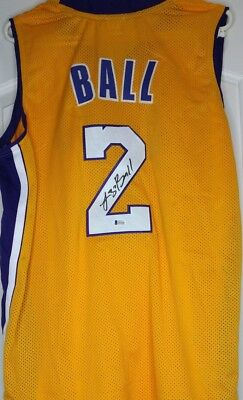 1fd58220822 Lonzo Ball Signed Autographed Los Angeles Lakers Yellow Jersey Beckett COA