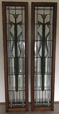 Victorian Pair Antique Craftsmen Floral Beveled Stained Glass Windows Sidelights