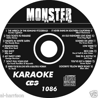 Karaoke Monster Hits Cd+G Classic Pop Hits #1086