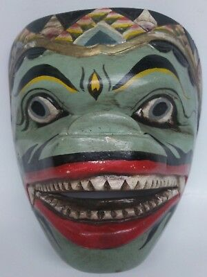"""Asian Hand Carved/ Painted Wooden Mask Drama Art 6 1/2""""H x 6 1/2""""W x 4""""Deep"""
