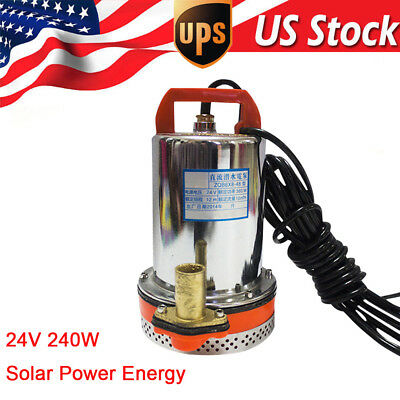 Farm & Ranch SOLAR POWERED Submersible 240W DC Water Well Pump 12v/24v Watering
