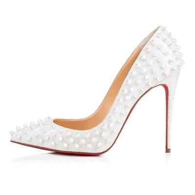 Christian Louboutin FOLLIES SPIKES 100 Patent Heels Pump Shoes White Pearl $1295