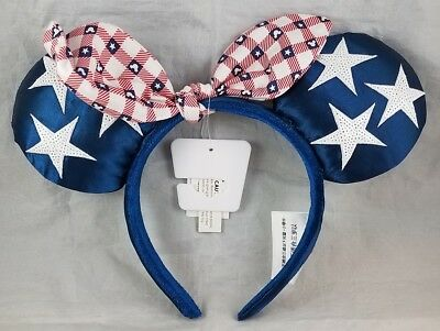 Disney Parks All American Girl Minnie Mouse Ears Bow Headband Hat USA 4th - NEW