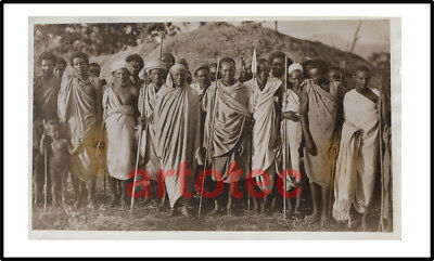Vintage photo Ethiopia warriors spears Abyssinia Affrica tribal ethnic LOOK