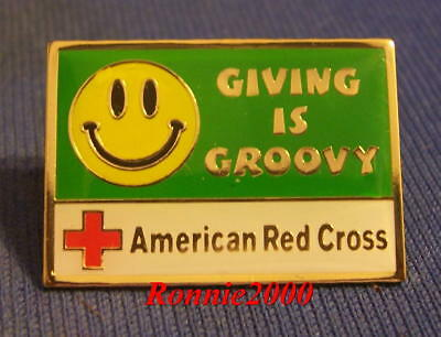 GIVING IS GROOVY  American Red Cross pin  LAST ONE!