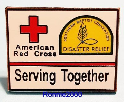 SOUTHERN BAPTIST AND AMERICAN RED CROSS SERVING TOGETHER pin