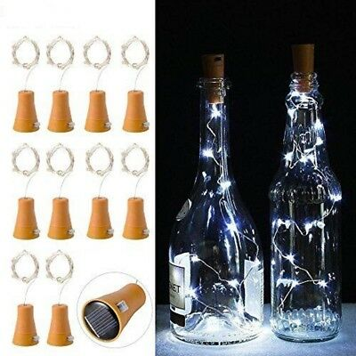 20-LED Solar Weinflasche Kork String Light Nacht Fairy Party Licht Lampe 2019