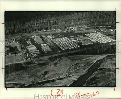 1976 Press Photo Aerial view of construction site of Trans-Alaska Pipeline