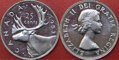 Brilliant Uncirculated 1953 Canada No Shoulder Fold Silver 25 Cents