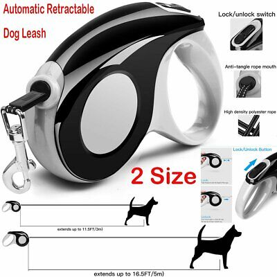 3M 5M Heavy Pet Dog Lead Leash Strong Retractable Automatic Extendable Strap