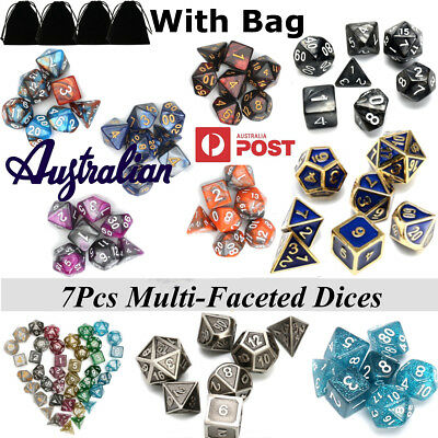 35/42Pcs Embossed Heavy Metal / Acrylic Polyhedral Dice DnD RPG MTG SET + Bag AU