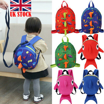 UK Baby Kid Toddler Safety Harness Strap Anti-lost Leash Dinosaur Shark Backpack