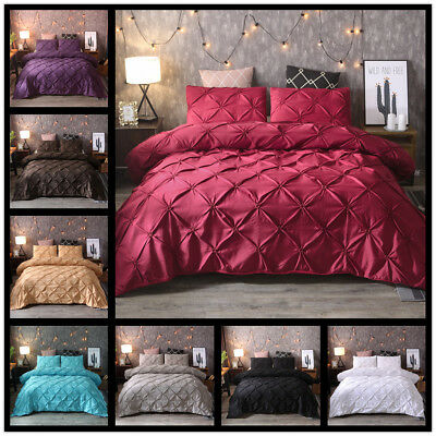 Pintuck Duvet Quilt Cover With Pillowcase Set Pinch Pleat Bedding Set Double Bed