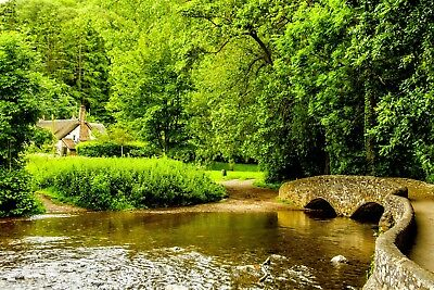 Dunster Village Somerset Running Water Scene Canvas Pictures Wall Art Prints