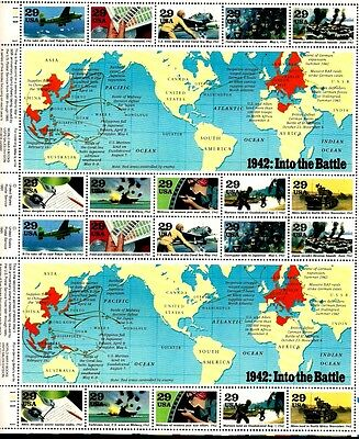 1992 - WWII - INTO THE BATTLE - #2697 Full Mint -MNH- Sheet of 20 Postage Stamps