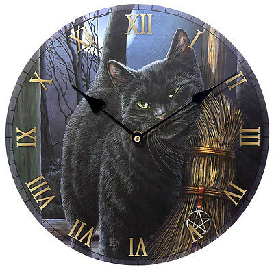 Black Cat Design Wall Clock - Lisa Parker Brush with Magic Cat Clock - BNIB