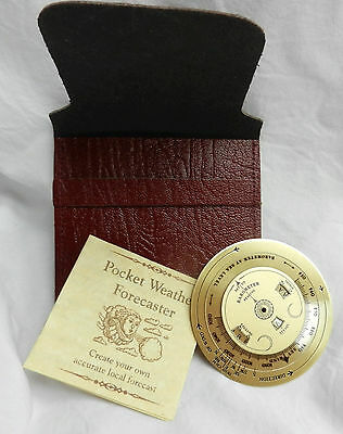 Brass Pocket Weather Forecaster in Leather Pouch - BNWT