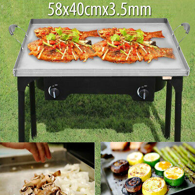 58x40cm Stainless Steel Griddle Flat Top Pan Cooking BBQ Outdoor Stove Grill