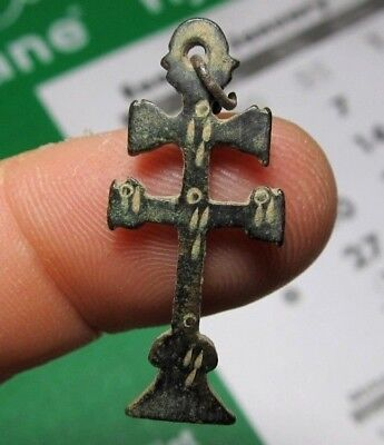antique old Medieval Spanish Crucifix CARAVACA CROSS Religious Pendant 15-16th C