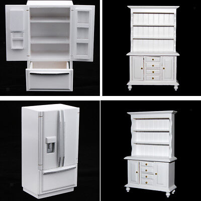 1/12 Dollhouse Miniature Wooden Furniture Refrigerator & Cabinet Bookshelf