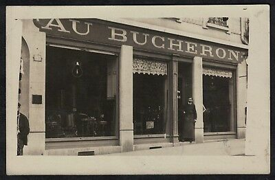 Cpa Carte Photo Magasin de meubles Au Bucheron à situer au numéro 115