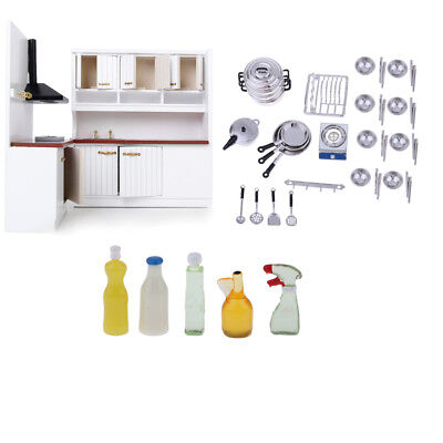 1/12 Dollhouse Modern Kitchen Model & Cookware & Cleaning Set Accessory