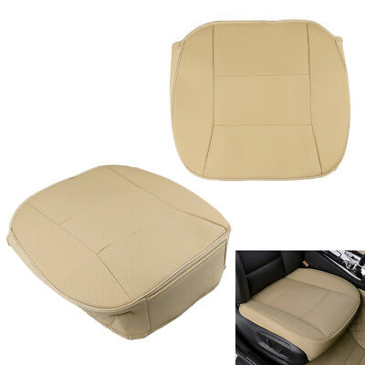 Universal PU Leather Car Seat Cover Protector Cushion Front Seat Mat Trim Beige
