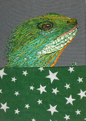 """YEARLY SALE - ACEO Original  """"Bearded Dragon"""" Silk Hand Embroidery - A Lobban"""