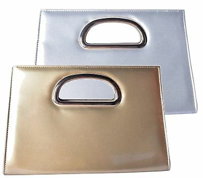 New Ladies Glossy Mock Patent Bridal Party Evening Prom Metal Handle Clutch Bag