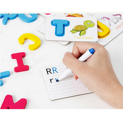 Baby Developmental Wooden 26 ABC Alphabet Letters Cognitive Puzzles Toy Gift