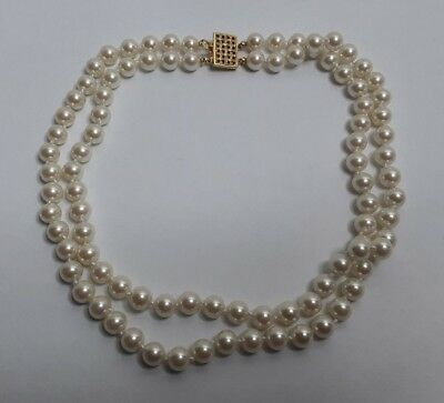"Vintage 15"" Double Strand Faux Pearl Necklace w Fancy Clasp PRETTY"