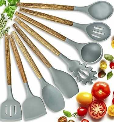 Silicone Cooking Utensils Kitchen Utensil set 8 Natural Acacia Wooden Silicone