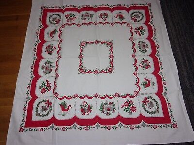 vntg 50's heavy weight cotton Christmas tablecloth fireplace poinsettias sleigh