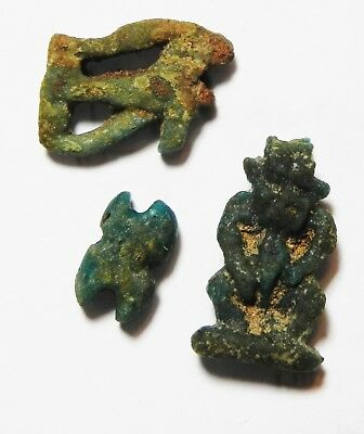 ZURQIEH -as10199- ANCIENT EGYPT. LOT OF 3 FAIENCE  AMULETS. 600 - 300 B.C