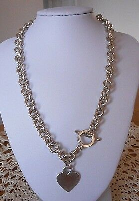 Heavy Vintage Sterling Silver Heart Chain Link Toggle Choker Necklace ~ 64.2 Gr.