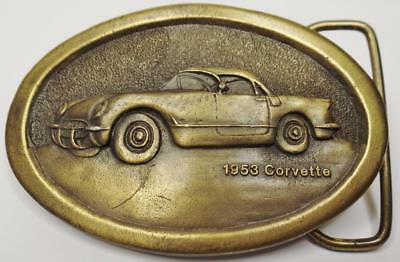 Vintage 1976 Indiana Metal Craft Lost Wax Cast Brass 1953 Corvette Belt Buckle