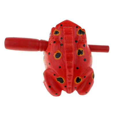 Wooden Frog Carved Wood Croaking Instrument Musical Sound Red Handcraft