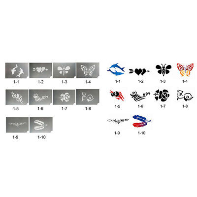 10x Animal Flower Reusable Party Face Body Painting Make Up Stencil Template