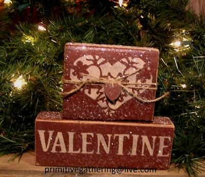 = Primitive VALENTINE HEART * Wood Sign Block Glittered Shelf Tuck