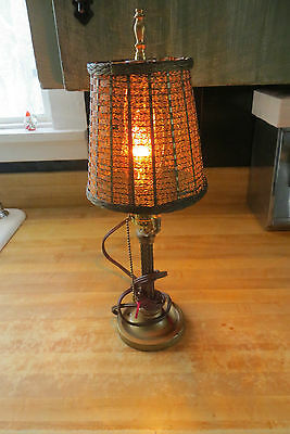vtg old brass mesh woven retro vtg desk table night light lamp light & fennel