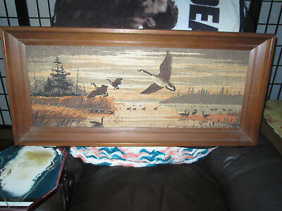 R. Batchelder, Fabric Linen,  Vntage Geese Picture-Rare Find!